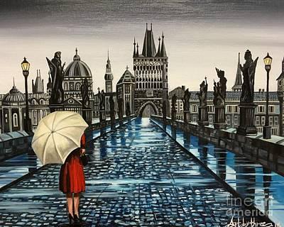 Painting - Prague Charles Bridge by Art By Three Sarah Rebekah Rachel White