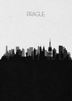 Digital Art - Prague Cityscape Art by Inspirowl Design