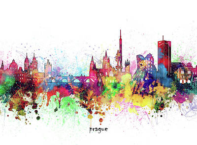 Abstract Skyline Royalty-Free and Rights-Managed Images - Prague Skyline Artistic by Bekim M