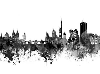 Abstract Skyline Royalty-Free and Rights-Managed Images - Prague Skyline Bw by Bekim M