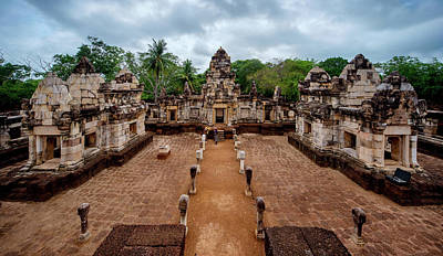 Lee Craker Royalty-Free and Rights-Managed Images - Prasat Sdok Kok Thom Interior  by Lee Craker