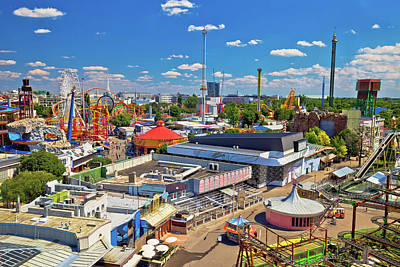 Watercolor Typographic Countries - Prater amusement park in Vienna aerial view by Brch Photography
