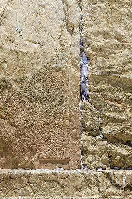 Photograph - Prayer Slips Left In The Western Wall In The Jewish Quarter Of T by William Kuta