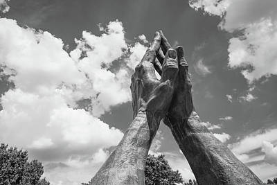 Photograph - Praying Hands With Clouds - Tulsa Oklahoma - Black And White by Gregory Ballos