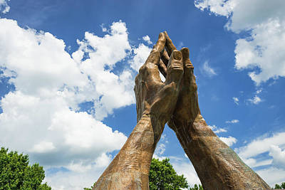 Photograph - Praying Hands With Clouds - Tulsa Oklahoma by Gregory Ballos