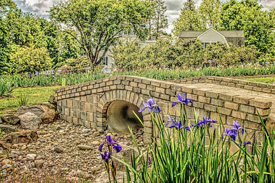 Giuseppe Cristiano - Presby Gardens in Montclair New Jersey tulip garden and bridge RETRO by Geraldine Scull