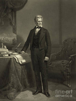 Drawing - President Andrew Jackson, Circa 1860 Engraving by Alexander Hay Ritchie