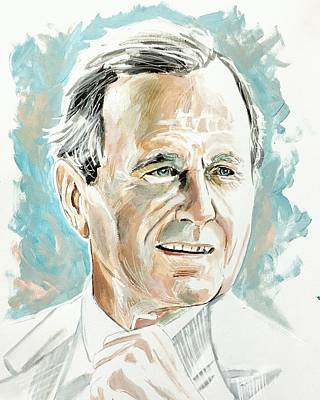 Painting - President Hw Bush by Joel Tesch