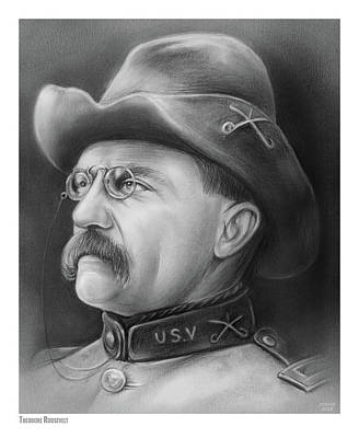 Drawings Royalty Free Images - President Teddy Roosevelt Royalty-Free Image by Greg Joens