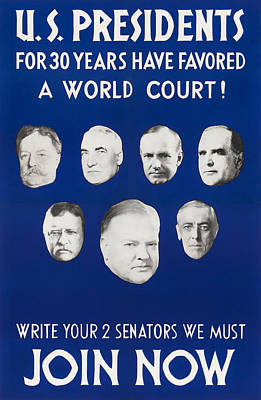 Mixed Media Royalty Free Images - Presidents For 30 Years Have Favored A World Court - 1931 Royalty-Free Image by War Is Hell Store