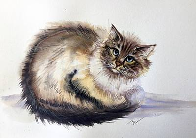 Painting - Pretty Cat by Katerina Kovatcheva