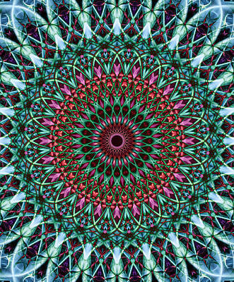 Digital Art - Pretty Detailed Mandala In Green, Pink And Red Colors by Jaroslaw Blaminsky