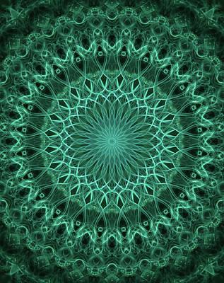 Digital Art - Pretty Mandala In Malachite Green Color by Jaroslaw Blaminsky