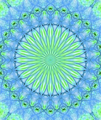 Digital Art - Pretty Mandala In Neon Green And Neon Blue Colors by Jaroslaw Blaminsky