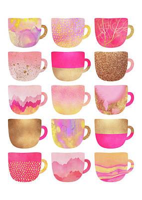 Tea Cup Wall Art - Digital Art - Pretty Pink Coffee Cups by Elisabeth Fredriksson