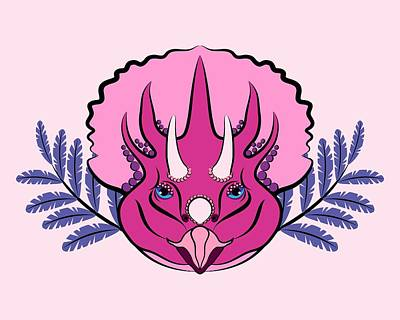 Digital Art - Pretty Pink Triceratops by MM Anderson