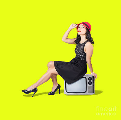 Photograph - Pretty Pinup Woman Sitting On 70s Tv Set by Jorgo Photography - Wall Art Gallery