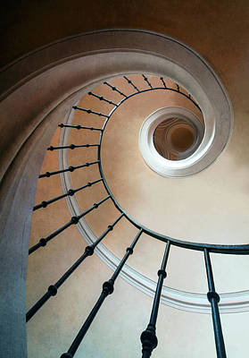Photograph - Pretty Spiral Brown Staircase by Jaroslaw Blaminsky