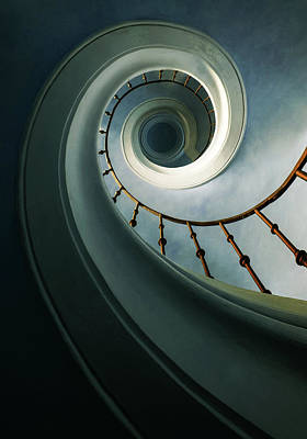 Photograph - Pretty Spiral Staircase In Blue And Green Tones by Jaroslaw Blaminsky