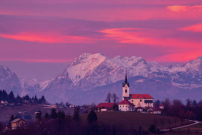 Photograph - Prezganje Church With Snowy Kamnik Alps At Sunset by Ian Middleton