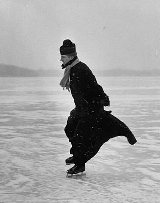Photograph - Priest Ice Skating. From Photo Essay Re by John Dominis