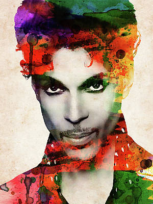 Musicians Royalty Free Images - Prince watercolor portrait on old paper Royalty-Free Image by Mihaela Pater