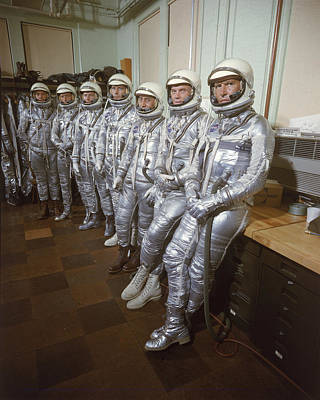 Photograph - Project Mercury Astronauts Right To by Ralph Morse