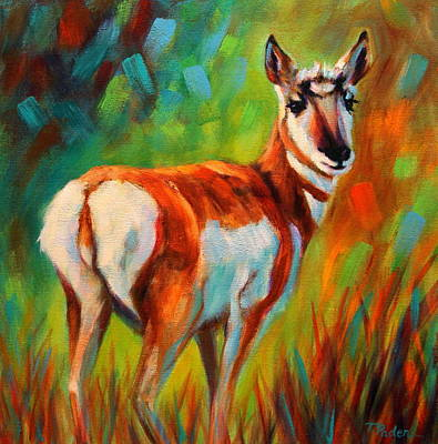 Wall Art - Painting - Pronghorn Doeling by Theresa Paden