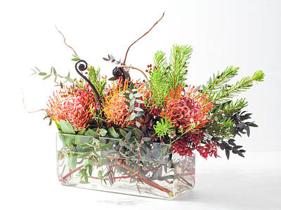 Photograph - Protea Flower Vase Arrangement by Patti Deters
