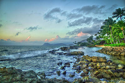 Photograph - Protection Secret Beach Sunset Aulani Disney Resort And Spa Hawaii Collection  by Reid Callaway
