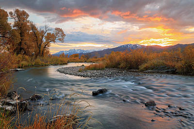 Photograph - Provo River Golden Sunset by Johnny Adolphson