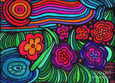 Abstract Flowers Drawings - Psychedelic Garden by Sarah Loft