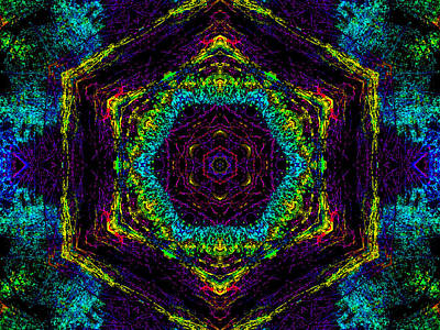 Digital Art - Psychedelic Kaleidoscope Abstract Pattern 1 by Artist Dot