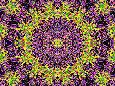 Digital Art - Psychedelic Kaleidoscope Abstract Pattern 9 by Artist Dot
