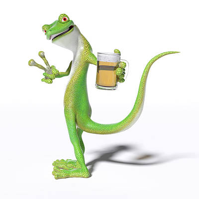 Beer Royalty-Free and Rights-Managed Images - Pub Gecko by Betsy Knapp