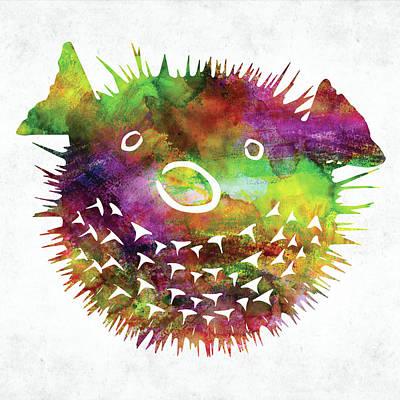 Animals Digital Art - Puffer fish face watercolor by Mihaela Pater