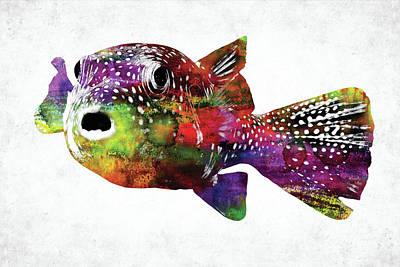 Animals Digital Art - Puffer fish watercolor by Mihaela Pater