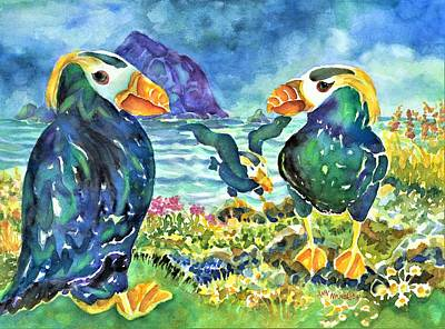 Painting - Puffins by Ann Nicholson