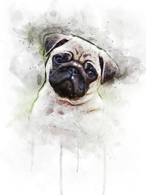 Watercolor Pet Portraits Digital Art - Pug by Aged Pixel