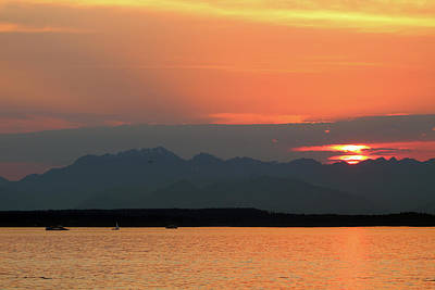 Photograph - Puget Sound Sunset - Seattle Washington by Rick Veldman