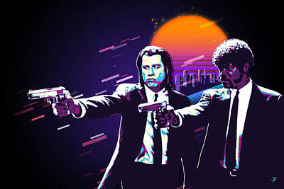 Digital Art - Pulp Fiction Revisited - Urban Neon Vincent Vega And Jules Winnfield by Serge Averbukh