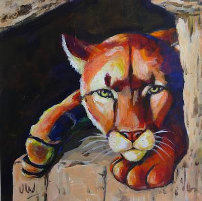 Painting - Puma In Waiting by June Walker