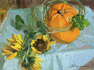 Painting - Pumpkin In A Cucumber Wreath by Victoria Kharchenko