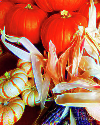 Pumpkins And Indian Corn Original