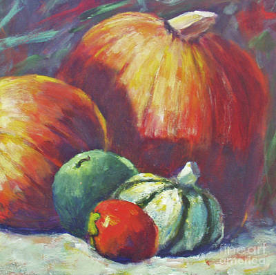 Painting - Pumpkins In A Square by Carolyn Jarvis