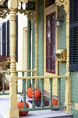Pumpkins On The Porch Lambertville Art Print
