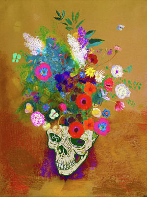 Painting - Punk Impressionist Flower Skull by Tony Rubino