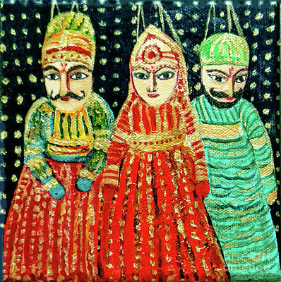 Painting - Puppets Of Rajasthan by Asha Sudhaker Shenoy