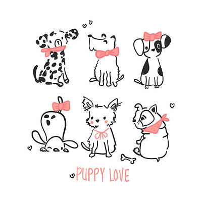 Drawing - Puppy Love - Baby Room Nursery Art Poster Print by Dadada Shop