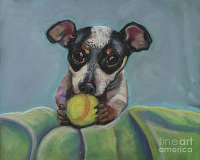 Pastel - Puppy With Tennis Ball by Ann Hoff